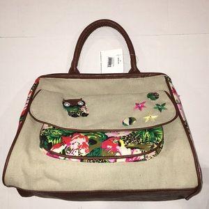 Summer Satchel. Stone Color Woven Fabric handbag